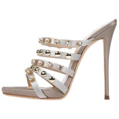 Giuseppe Zanotti NEW Taupe Satin Gold Rhinestone Evening Sandals Heels in Box
