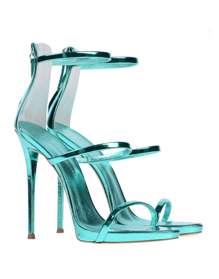Blue Giuseppe Zanotti NEW Teal Leather Evening Strappy Ankle Sandals Heels in Box For Sale