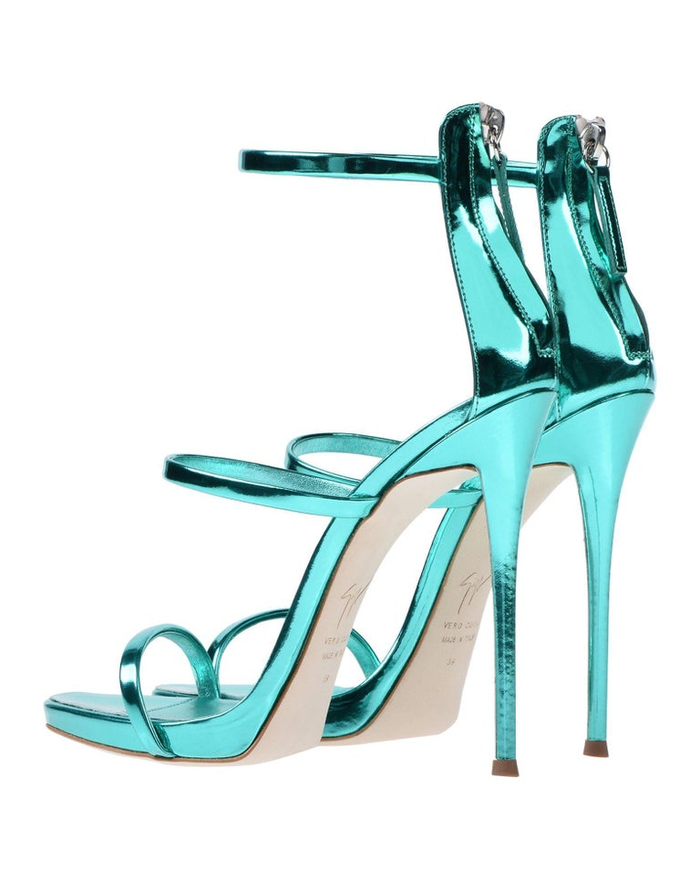 Giuseppe Zanotti NEW Teal Leather Evening Strappy Ankle Sandals Heels in Box In New Condition For Sale In Chicago, IL