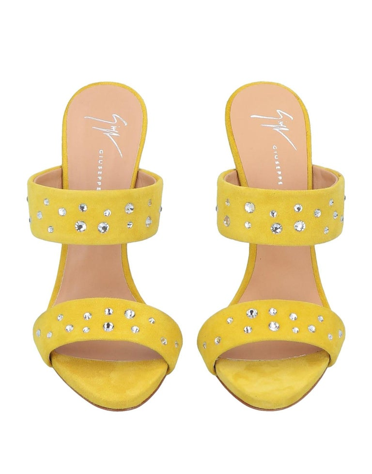 Giuseppe Zanotti NEW Yellow Rhinestone Slides Mules Evening Sandals Heels in Box  Size IT 36 Suede Rhinestone Slide in  Made in Italy Heel height 5
