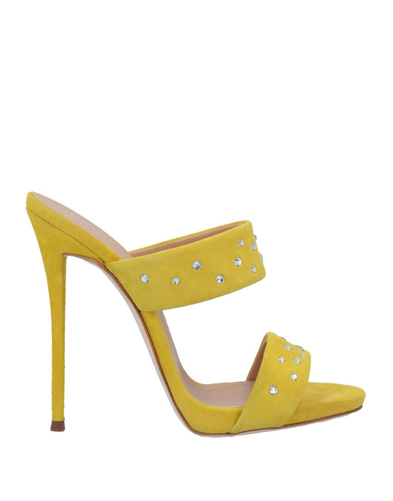 Giuseppe Zanotti NEW Yellow Suede Slides Mules Evening Sandals Heels in Box In New Condition For Sale In Chicago, IL