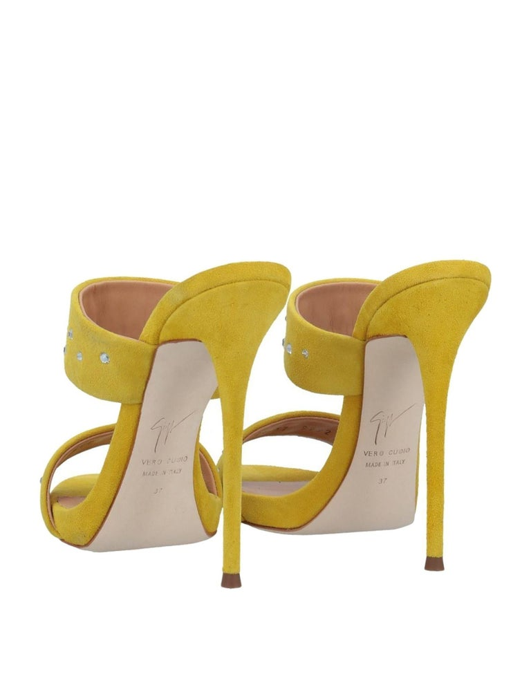 Women's Giuseppe Zanotti NEW Yellow Suede Slides Mules Evening Sandals Heels in Box For Sale