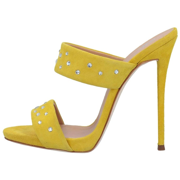 Giuseppe Zanotti NEW Yellow Suede Slides Mules Evening Sandals Heels in Box For Sale
