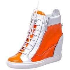 Giuseppe Zanotti Orange/White Patent Leather Hidden Wedge Sneakers Size 38.5