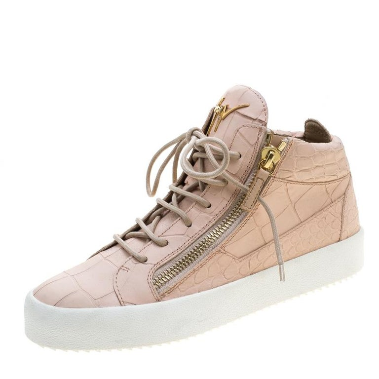 84fba9a2f4216 Giuseppe Zanotti Peach Croc Embossed Leather London High Top Sneakers Size  41 For Sale at 1stdibs