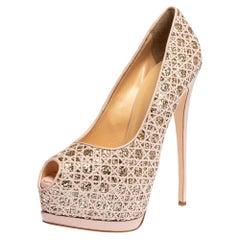 Giuseppe Zanotti Pink Sharon Glitter Liza Peep Toe Platform Pumps Size 41
