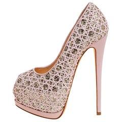 Giuseppe Zanotti Pink Woven Coarse Glitter Peep Toe Platform Pumps Size 36