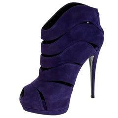 Giuseppe Zanotti Purple Cut Out Suede Coline Peep Toe Booties Size 38