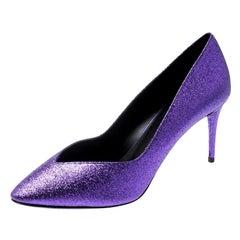Giuseppe Zanotti Purple Glitter Olinda V Throat Pumps Size 38.5