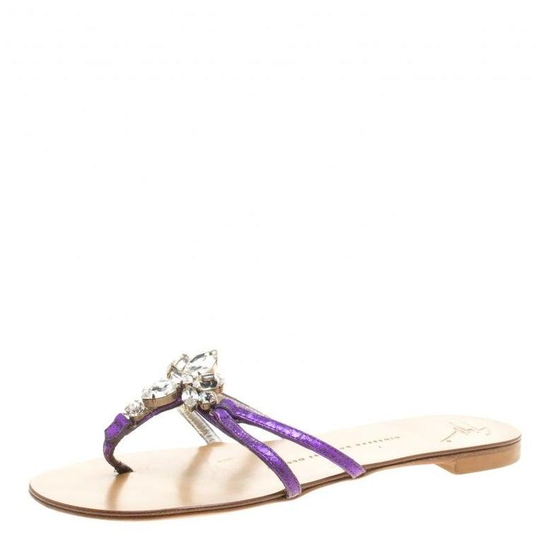 da9c9be1fc47 Giuseppe Zanotti Purple Leather Crystal Embellished Flat Sandals Size 36  For Sale