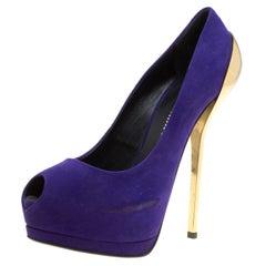 Giuseppe Zanotti Purple Suede Peep Toe Platform Pumps Size 38.5