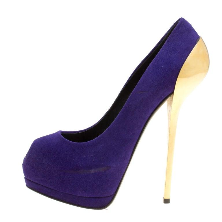 86332947e1a Giuseppe Zanotti Purple Suede Peep Toe Platform Pumps Size 38.5 For Sale