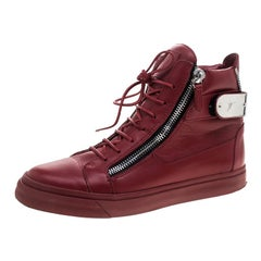 Giuseppe Zanotti Red Leather Metal Accent High Top Sneakers Size 40