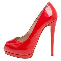 Giuseppe Zanotti Red Patent Leather Sharon Peep Toe Pumps Size 36