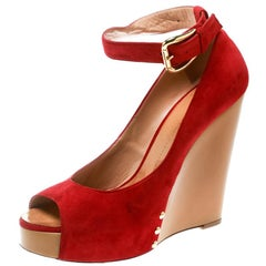 Giuseppe Zanotti Red Suede Leather Peep Toe Wedge Pumps Size 39.5