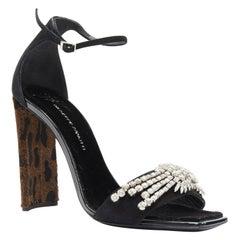 GIUSEPPE ZANOTTI Sabine 2017 black suede crystal embellished leopard sandal EU39