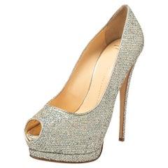 Giuseppe Zanotti Silver Glitter And Leather Sharon Peep Toe Pumps Size 40