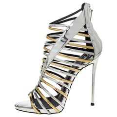 Giuseppe Zanotti Silver/Gold Leather Coline Gladiator Sandals Size 39