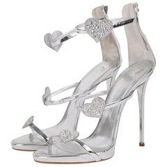 Giuseppe Zanotti Silver Metallic Swarovski Crystal Heart Strappy High-Heel Sanda