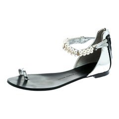 Giuseppe Zanotti Silver Patent Leather Pearl Ankle Strap Flats Size 38