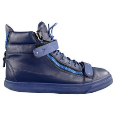 GIUSEPPE ZANOTTI Size 13 Navy Leather High Top Lace Up Sneakers
