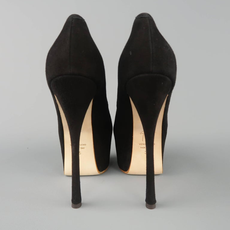 GIUSEPPE ZANOTTI Size 5 Black Suede Peep Toe Platform Pumps In New Never_worn Condition For Sale In San Francisco, CA