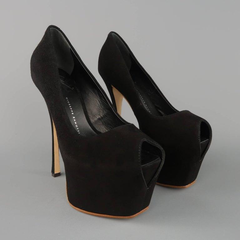 GIUSEPPE ZANOTTI Size 5 Black Suede Peep Toe Platform Pumps For Sale 1