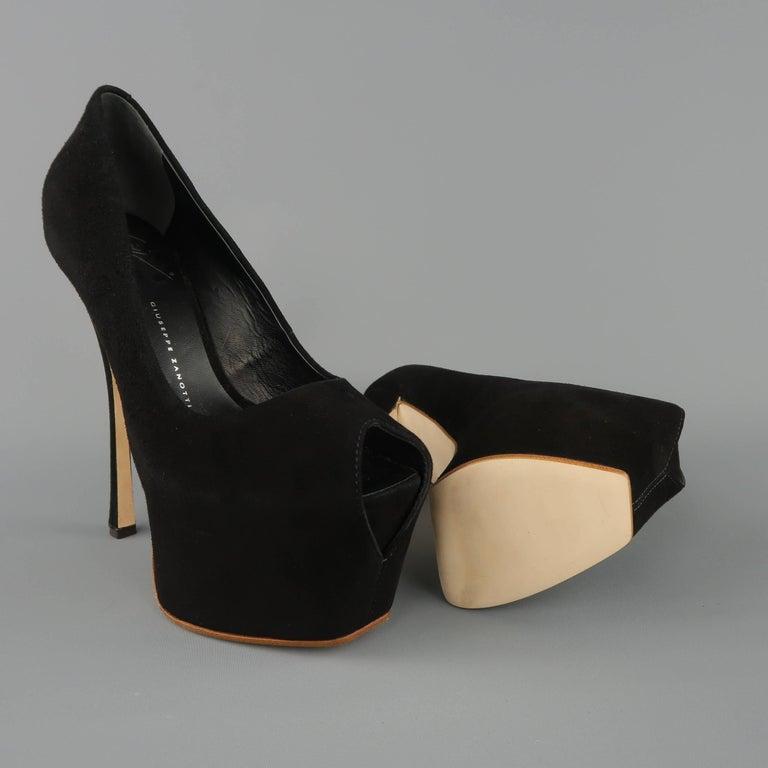 GIUSEPPE ZANOTTI Size 5 Black Suede Peep Toe Platform Pumps For Sale 2