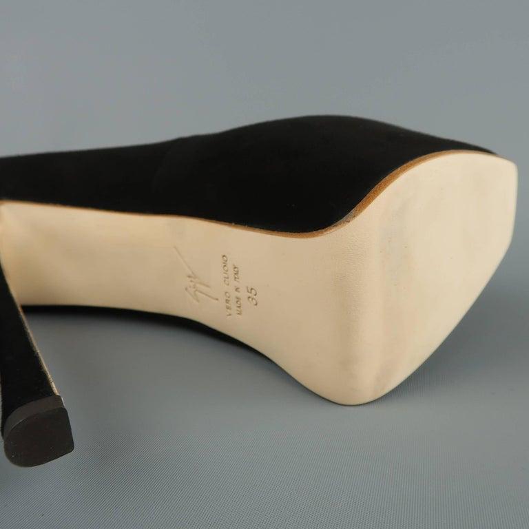 GIUSEPPE ZANOTTI Size 5 Black Suede Peep Toe Platform Pumps For Sale 3