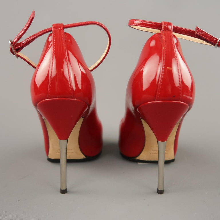 GIUSEPPE ZANOTTI Size 6 Red Patent Leather Peep Toe Metal Heel Pumps For Sale 1