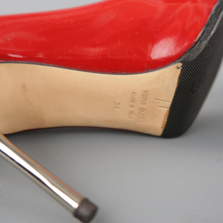 GIUSEPPE ZANOTTI Size 6 Red Patent Leather Peep Toe Metal Heel Pumps For Sale 2