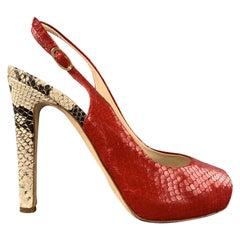 GIUSEPPE ZANOTTI Size 8 Red & Beige Snake Skin Slingback Peep Toe Pumps
