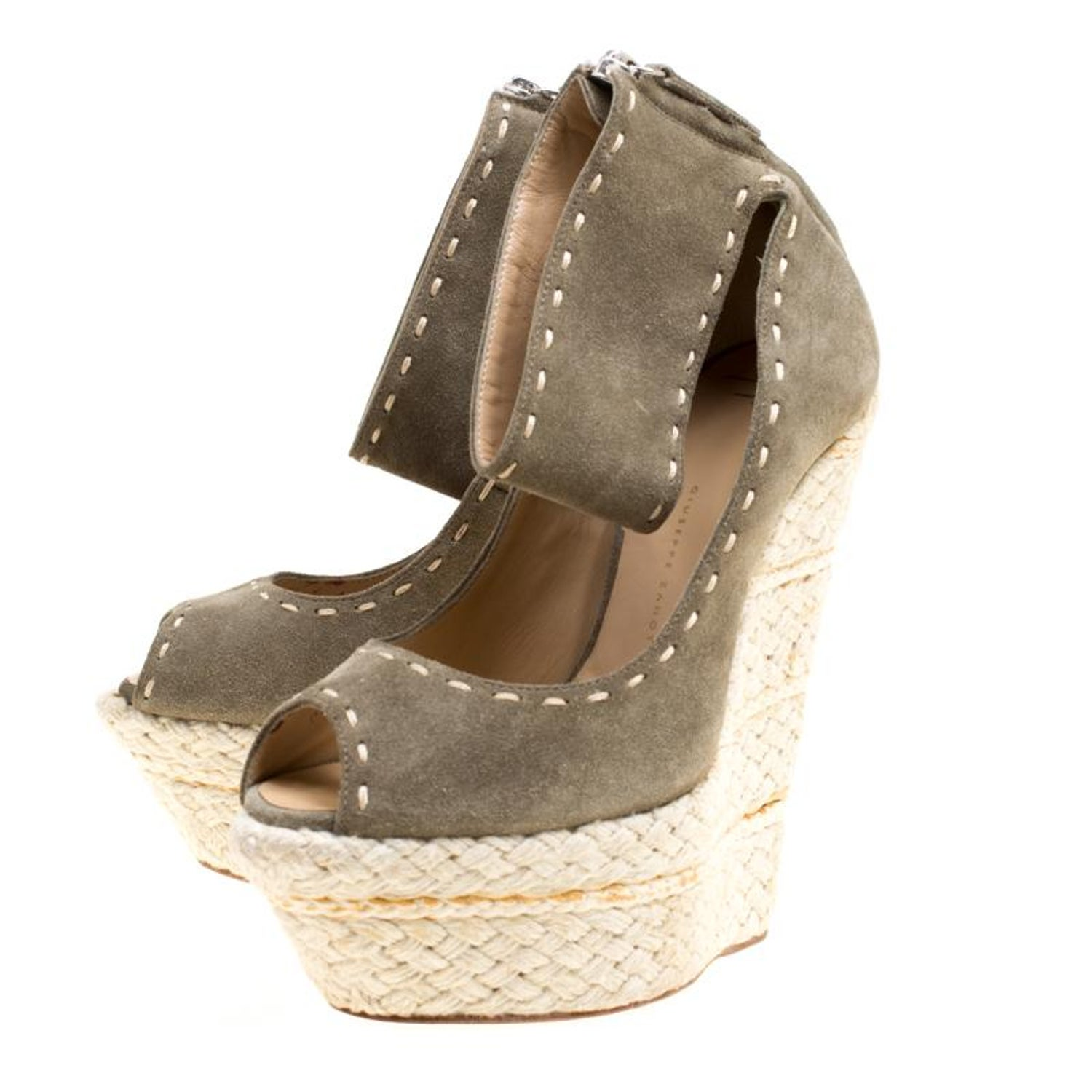 99a6b6a9e7ee Giuseppe Zanotti Suede Espadrille Wedge Ankle Strap Peep Toe Pumps Size 37 For  Sale at 1stdibs