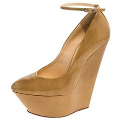 Giuseppe Zanotti Tan Patent Leather Ankle Strap Platform Wedge Pumps Size 36