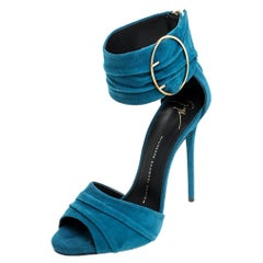 Giuseppe Zanotti Teal Suede Peep Toe Ringed Ankle Strap Sandals Size 37.5