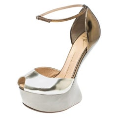 Giuseppe Zanotti Two Tone Leather Heelless Peep Toe Platform Pumps Size 38.5