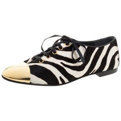 Giuseppe Zanotti White/Black Zebra Print Pony Hair Lace Up Oxfords Size 38
