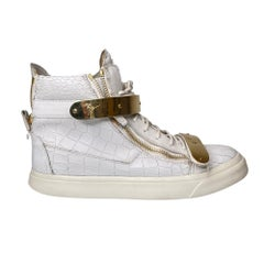 Giuseppe Zanotti White Croc Embossed Leather Coby High Top Sneakers (44 EU)