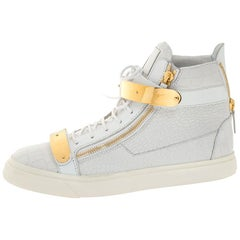 Giuseppe Zanotti White Croc Embossed Leather Coby High Top Sneakers Size 45