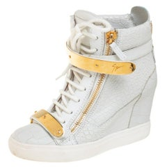 Giuseppe Zanotti White Croc Embossed Leather High Top Wedge Sneakers Size 37