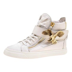 Giuseppe Zanotti White Leather Eagle High Top Sneakers Size 38