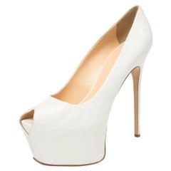 Giuseppe Zanotti White Leather Liza Peep Toe Platform Pumps Size 38.5