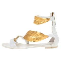 Giuseppe Zanotti White Leather Metal Leaf Embellished Flat Sandals Size 36