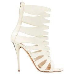 GIUSEPPE ZANOTTI white leather silver metal heel cut out bootie sandal EU37.5