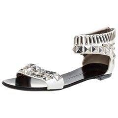 Giuseppe Zanotti White Leather Studded Ankle Cuff Zipper Flats Size 36