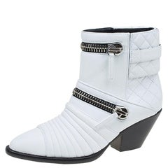 Giuseppe Zanotti White Quilted Leather Ankle Boots Size 37.5