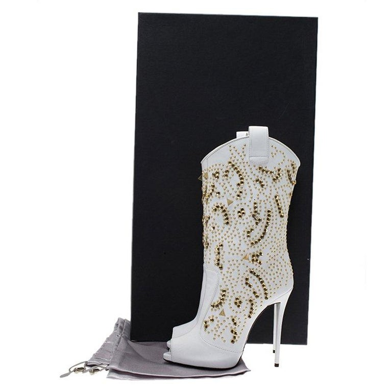 efc50121b2d23 Giuseppe Zanotti White Studded Leather Coline Peep Toe Mid Calf Boots Size  37 For Sale 3