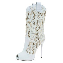 Giuseppe Zanotti White Studded Leather Coline Peep Toe Mid Calf Boots Size 38
