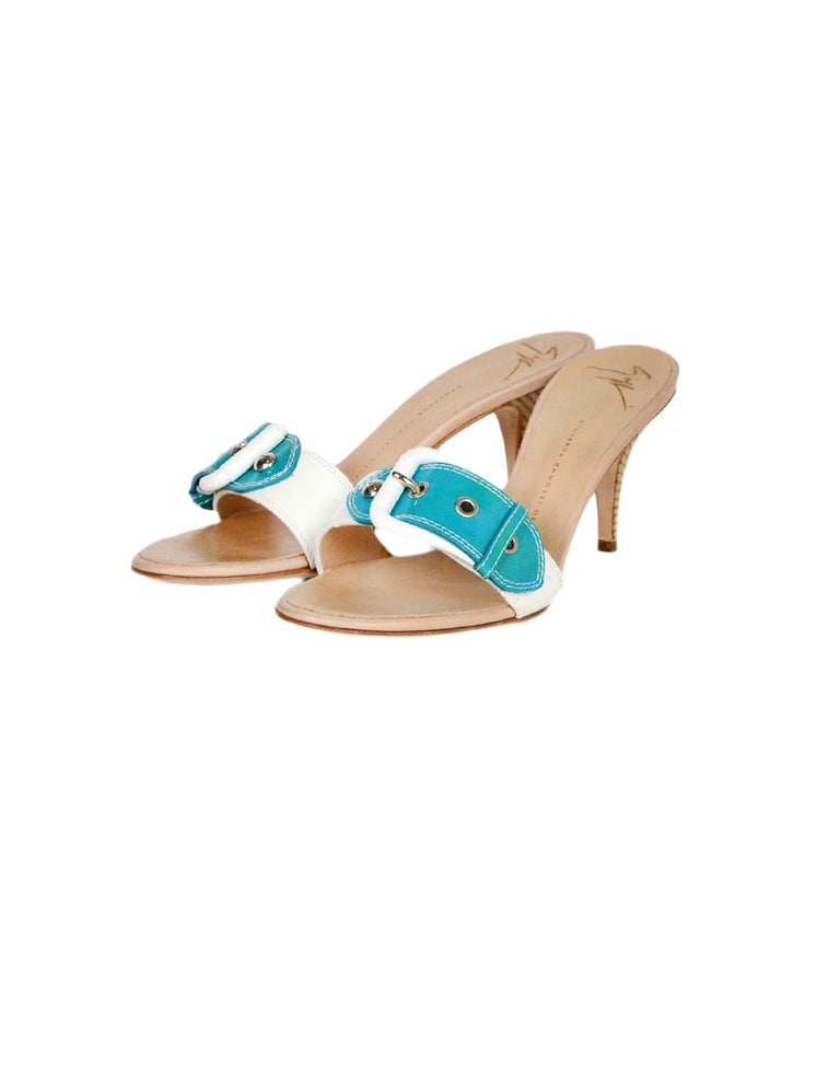 Beige Giuseppe Zanotti White/Turquoise Patent Buckle Mules sz 39 For Sale
