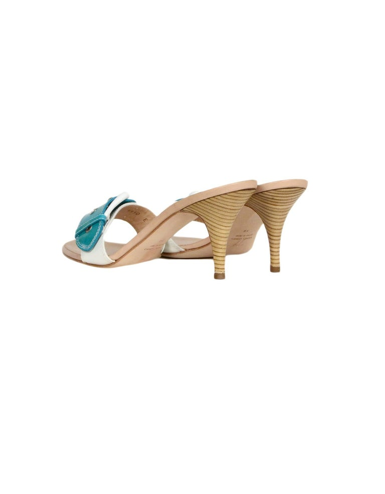 Giuseppe Zanotti White/Turquoise Patent Buckle Mules sz 39 In Excellent Condition For Sale In New York, NY